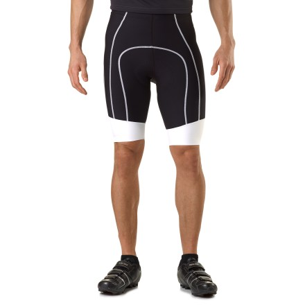 Fitness Featuring high-tech Lycra(R) Power fabric, Garneau Neo Power bike shorts sport more compression than basic knits for improved circulation. Contrast stitching and accents provide a racer look. - $59.83
