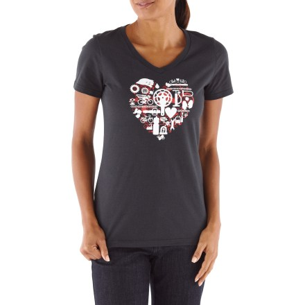 MTB The Novara Bike Part Heart T-shirt is a perfect fit for around-the-neighborhood errands on your bike. Smooth cotton blend feels comfortable and breathes well. Reflective logos help you stay safe by being seen. V-neck styling. The Novara Bike Part Heart T-shirt offers an active fit. - $16.93
