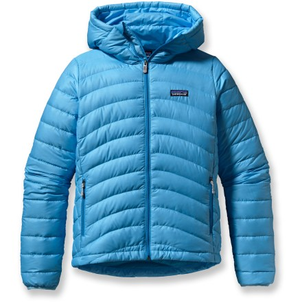 The Patagonia Down Sweater Full-Zip hoodie is ultralight, highly compressible down insulation for cold mountain pursuits. November on the Stanley Headwall and December in the desert-either way, when the sun leaves the walls it's down time! This hooded jacket features 800-fill-power down, stabilized through a quilted construction and protected by a superlight but tough, windproof and water-resistant shell. Durable water repellent finish causes water to bead up and roll off, fending off light rain showers and snow. Attached hood seals around your face for toasty warmth. Nylon-bound elastic cuffs and drawcord hem seal warmth in and drafts out. Patagonia Down Sweater hoodie has 2 zippered handwarmer pockets and 1 interior zippered stretch-mesh pocket that doubles as a stuff sack with carabiner clip-in loop. - $187.93