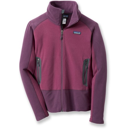 Camp and Hike Contrast panels enliven the feminine Emmilen jacket from Patagonia. This full-zip microfleece jacket has a windflap and cozy pockets to guard heat during crisp night and chilly days. Lightweight heathered polyester fleece is soft and breathable; a Durable Water Repellent finish helps repel moisture for quick drying. Tall double-layer zip-through collar; zipper garage shields skin from irritation. Zip handwarmer pockets. Features modern style lines, a wide waistband and front and back contrast panels. Patagonia Emmilen jacket is slim fitting. - $58.83