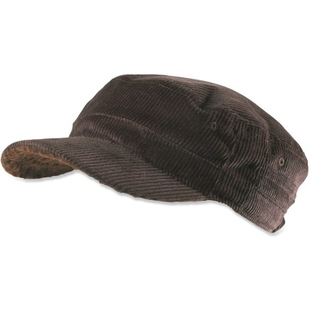 Like an old friend, the prAna Cord Cadet hat will be your reliable favorite that just gets better with time. Cotton corduroy fabric has a soft feel yet is made to stand up to regular wear. Cozy sherpa polyester fleece lining adds an extra layer of warmth. Rear stretch adjusts to accommodate most head sizes. Closeout. - $12.73