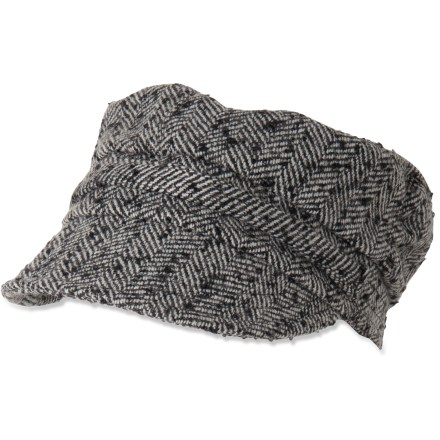 Top your outfit with a touch of sass with this cute herringbone prAna Flora Cadet Cap. Warm, breathable wool blend construction is comfortable. Rear stretch adjusts to accommodate most head sizes. Closeout. - $16.73
