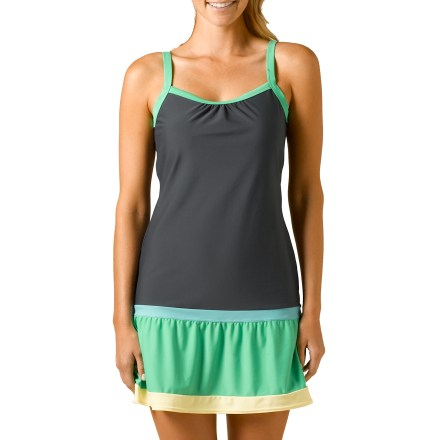 Fitness The prAna Synergy dress has all your bases covered when you need to go straight from the beach to dinner or when running a few errands before heading to the pool. Stretch nylon material stretches and dries quickly so you can pull it on after catching your last wave and be dry in time for dinner. prAna Synergy dress is fully lined and features removable molded cups. - $19.83