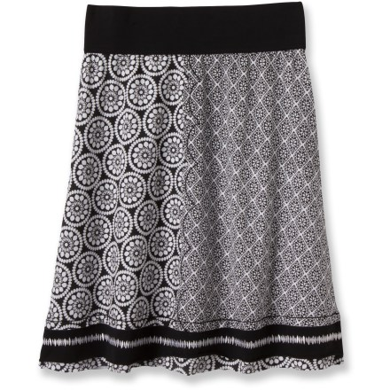 Entertainment A multi-panel mixed print in black and white makes the prAna Lisette skirt a natural with everything from tees to woven summer shirts. Organic cotton/spandex jersey fabric is cool and breathable and complements your every move. Wide contrast-color waistband. - $44.93