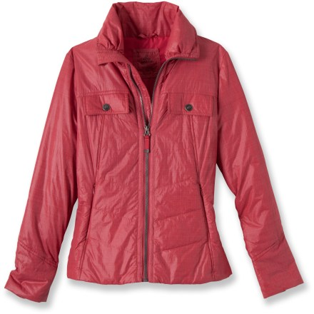 A little light insulation goes a long way in the prAna Chantal jacket with polyester fill that wards off the chill but keeps you looking, well, cool. Nylon exterior has been treated with a Durable Water Repellent, allowing water to bead up and roll off, keeping you dry in light rain. Light polyester insulation and a tall collar work together to add warmth; wrinkle-resistant fabric makes this a great traveling piece. The prAna Chantal jacket features 2 chest pockets with snap closure and 2 zippered hand pockets for storing small essentials. - $67.83