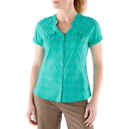 Camp and Hike Throw the REI Northway Plaid shirt into your suitcase for a versatile (and cute) shirt option. It has comfortable stretch, wicks moisture and dries quickly. Shirt features 2-way stretch, princess seams, back pleat and an easy-wearing fit. Fabric provides UPF 50+ sun protection, shielding skin from harmful ultraviolet rays. Banded collar with V-neckline. Vent across back yoke promotes airflow during active pursuits. Casual shirttail hem. 2 chest pockets and 1 hidden pocket at center front placket. - $24.83