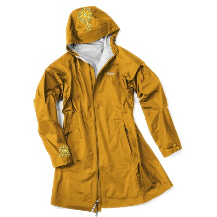 The Sherpa Adventure Gear Chakra thigh-length rain jacket is long on style--and rain protection--for those damp days when you need that extra coverage. - $78.83
