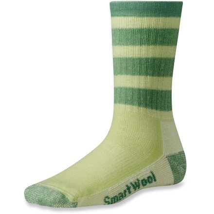 Camp and Hike Equipped to handle serious outdoor undertakings, the SmartWool Striped Hiking Crew socks also add some fun to your adventure with bright colors and horizontal stripes. With height that extends to midcalf, these socks offer substantial coverage and a little extra warmth for cooler temperatures. Merino wool wicks away moisture and breathes to regulate temperature for outstanding comfort in a variety of conditions. Extra support under the arches and at ankles improves fit; reinforced bottoms, heals and toes add long-lasting durability. SmartWool socks are guaranteed not to itch and can be repeatedly washed and dried without shrinking. Striped Hiking Crew socks feature virtually seamless toes for reduced chafing and irritation. Closeout. - $13.93