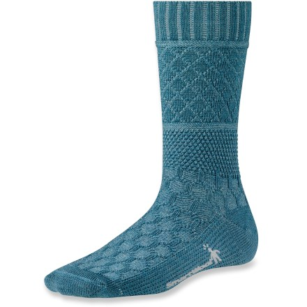 Featuring intricate, eye-catching patterns and soft merino wool, the SmartWool Quilted Cable socks go beyond basic to provide superior performance and style. Merino wool wicks away moisture and breathes to regulate temperature for outstanding comfort in a variety of conditions. WOW (wool on wool) technology increases wool content in high-impact areas, improving durability and overall comfort. SmartWool socks are guaranteed not to itch and can be repeatedly washed and dried without shrinking. Light cushioning adds support and comfort for long days on your feet. Quilted Cable socks feature virtually seamless toes for reduced chafing and irritation. Closeout. - $4.73