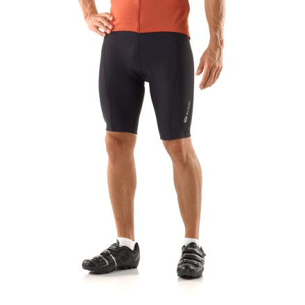 Fitness These race-ready Sugoi Evolution bike shorts feature contoured seams, a performance chamois and a soft fabric that wicks away moisture and circulates air. EvoPlus fabric has a gradient-denier construction (large yarns against the skin and small yarns on the exterior) to rapidly wick moisture and provide superior muscle support. RC Pro chamois places high-density padding underneath the sit bones; 4-way stretch padding offers unrestricted movement. High-density, vibration damping padding features a welded center channel for ventilation and pressure relief. 8-panel shorts design follows body contours for full muscle support. Flatlock stitching is soft and non-chafing next to skin. Elastic grippers at leg hems keep Sugoi Evolution bike shorts in place. - $59.93