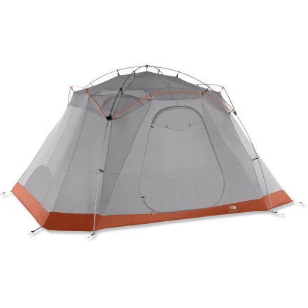 Camp and Hike The North Face Mountain Manor 8 tent is a portable palace for you and 7 of your friends. It offers full-featured comfort and 2 room dividers for some privacy. 2 doors allow easy entry and exit; 1 large, front poled vestibule stores gear and a small rear vestibule provides a covered entry and space to shelter boots. Front vestibule also features an awning configuration; use your trekking poles to prop open the double-zipper door. A clear window in the rainfly allows extra light in and a view outside. Roll-up room dividers let you divide the interior space into 3 separate rooms; or leave 1 rolled up and 1 rolled down for 2 separate rooms. Comprehensive color-coded design, ultralight twist clips and side-release rainfly attachments ensure quick and easy pitching. High-low venting panels ensure a well-ventilated tent; low room vents can be sealed shut. 4 interior ceiling pockets keep necessities organized. The North Face Mountain Manor 8 tent comes with duffel-style stuff sack and durable steel stakes. - $639.00