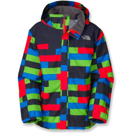 Snowboard The North Face Printed Resolve rain jacket adds waterproof and breathable protection in eye-catching style for kids' outdoor pursuits. - $36.83
