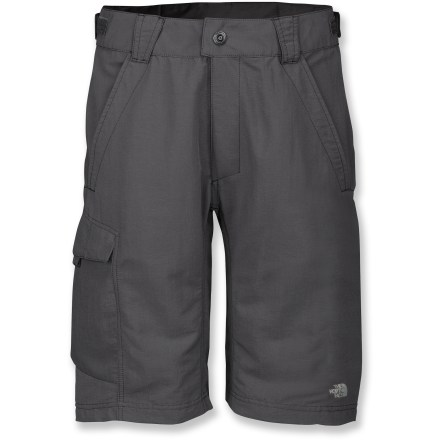 Fitness Built to take a mountain of punishment, The North Face Bracket mountain bike shorts easily handle the hazards of the singletrack. Offering a nonbinding fit, rugged outer shorts are water-resistant, breathable and quick drying; reinforced stitching on stress zones. Fabric is treated with a Durable Water Repellent finish that causes water to bead up and roll off. Waistband has adjustable tabs to fine-tune the fit; front zipper and snap-closure deliver quick on/off. Raised high-back waistband provides coverage when you're up and down, in and out of saddle. Elliptical knee hem is shaped and located for comfort and reduced pedaling interference. 4-way stretch, moisture-wicking, removable liner shorts feature a seamless, plush microfiber chamois to reduce friction points and relieve pressure in key areas. Triple-density foam-cushioned chamois dries quickly and breathes well, so you stay cool, dry and comfortable; chamois features fibers to reduce odors and regulate heat buildup. Using EPA-registered Sanitized(R) Silver to help with odor control, silver salt treatment prevents bacteria from forming in chamois, leaving skin's natural bacteria alone. Liner shorts have a brushed elastic waistband; gripping cuffs keep liner legs from creeping up. Twin front hand pockets and a flap cargo pocket provides storage; pockets feature mesh lining for additional ventilation; sunglass wipe in right pocket. Fabric provides UPF 30 sun protection, shielding skin from harmful ultraviolet rays. Closeout. - $55.93