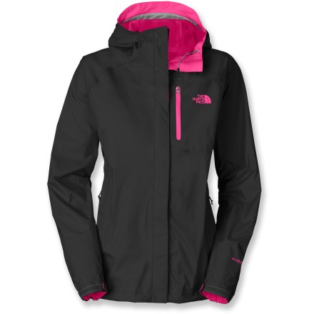 Entertainment Bright color combos and added features like a zippered chest pocket upgrade the North Face Super Venture rain jacket for women from basic to bold. Hyvent(R) 2.5L waterproof nylon blocks rain and wind while remaining breathable; integrated hood easily adjusts using hidden drawcords. 2 zippered hand pockets and 1 zippered chest pocket secure small essentials. Underarm zippers promote venting and better temperature control. The North Face Super Venture jacket packs down into its own pocket for easy storage. - $90.93