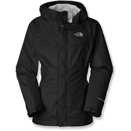 Ultimate protection from wet weather makes the Clairy jacket by The North Face a winter essential for girls who want to stay outside even when the rain starts coming down. 2.5-layer construction provides waterproof, breathable and fully seam-sealed protection. Fixed hood adds extra warmth and protection. 2 chest pockets and 2 zippered hand pockets offer easy storage when she wants her hands free. Rip-and-stick adjustable cuffs allow for personalized fit to help keep out water and wind. Inset elasticized belt creates a more fitted shape. The North Face Clairy jacket features an interior ID tag so her coat never gets lost in the crowd. - $75.00