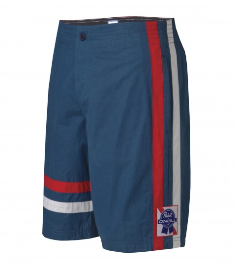 "Surf O'Neill PBR Hops Boardshorts.  Vintage Suede.  21"" outseam boardshort features comfort fly closure; internal waistband; back welt pocket with button closure; contrast set-on stripes; woven patch and screened logos. Special collaboration boardshort between Pabst Blue Ribbon and O'Neill! - $29.99"