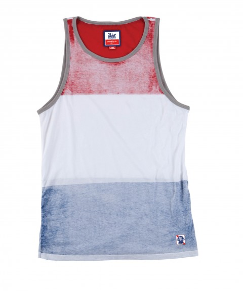 Surf O'Neill PBR About That Time Tank.  100% Cotton; prewashed 30 singles premuim fit tank with softhand screenprint stripes and contrast binding.Limited edition O'Neill and Pabst Blue Ribbon collaboration. - $21.99