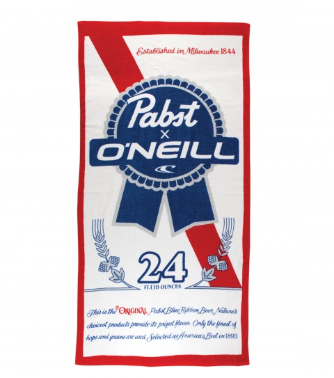 Surf O'Neill PBR Blue Ribbon Towel. 100% Cotton velour towel with screenprint Pabst ribbon logos.   59'' x 29.5''Limited Edition O'Neill and Pabst Blue Ribbon collaboration. - $34.50