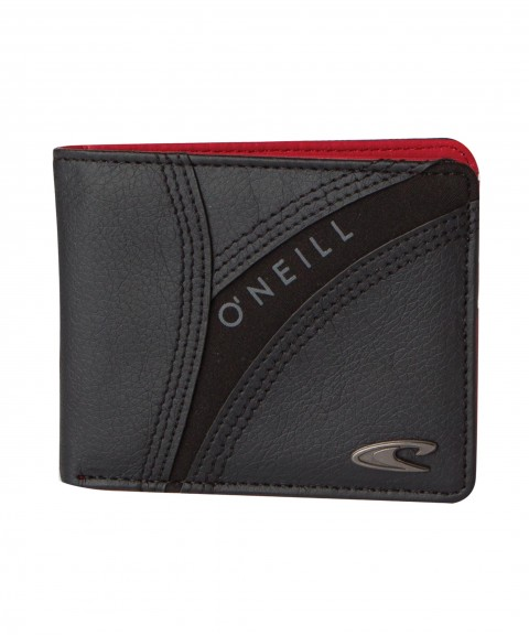 Surf O'Neill Prene & Mean Wallet.  Paneled PU and neoprene exterior with triple needle stitch detail; flat metal badge; screen print detail; interior neoprene detail on spine; direct emboss on interior card holder. - $17.99