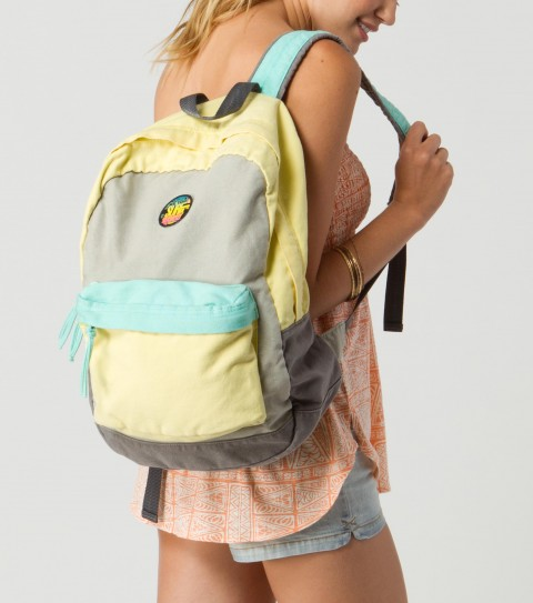 "Surf O'Neill Calder Backpack.  Cotton canvas with enzyme wash; color blocked styling; zipper entry to main compartment; zipper pocket at front; cotton poplin lining; adjustable shoulder straps; canvas circle logo patch. 16.5""H x 12.25""W x 5""D - $26.99"