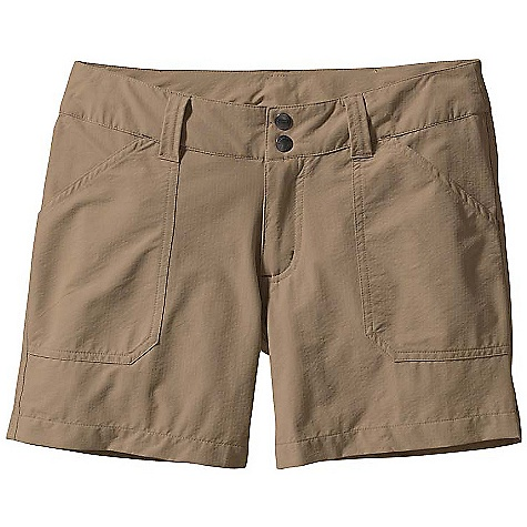 Entertainment On Sale. Free Shipping. Patagonia Women's Borderless Shorts DECENT FEATURES of the Patagonia Women's Borderless Shorts Stretchy recycled nylon fabric combines wicking performance, mobility and good looks Zip fly with double snap closure Waistband with belt loops Front pockets Welted back pockets Regular rise Regular fit, low rise The SPECS Weight: 161 g / 5.7 oz Inseam: (size 8): 5in. Fabric: 4-oz 95% nylon (60% recycled)/5% spandex with DWR (durable water repellent) finish Recyclable through the Common Threads Recycling Program This product can only be shipped within the United States. Please don't hate us. - $39.99