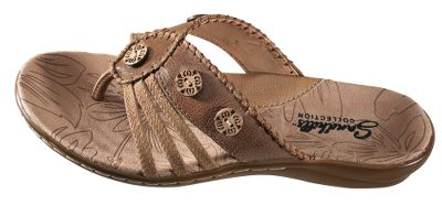 Surf Adventurous thong sandals with button and jute trim on supple, waxy leather uppers. Contrast welt stiching. Cushioned footbeds with reinforced arch support. Imported. Womens sizes: 6-11 medium width. Half sizes to 10. Color: Auburn. Size: 11. Color: Auburn. Gender: Female. Age Group: Adult. Material: Leather. - $49.99