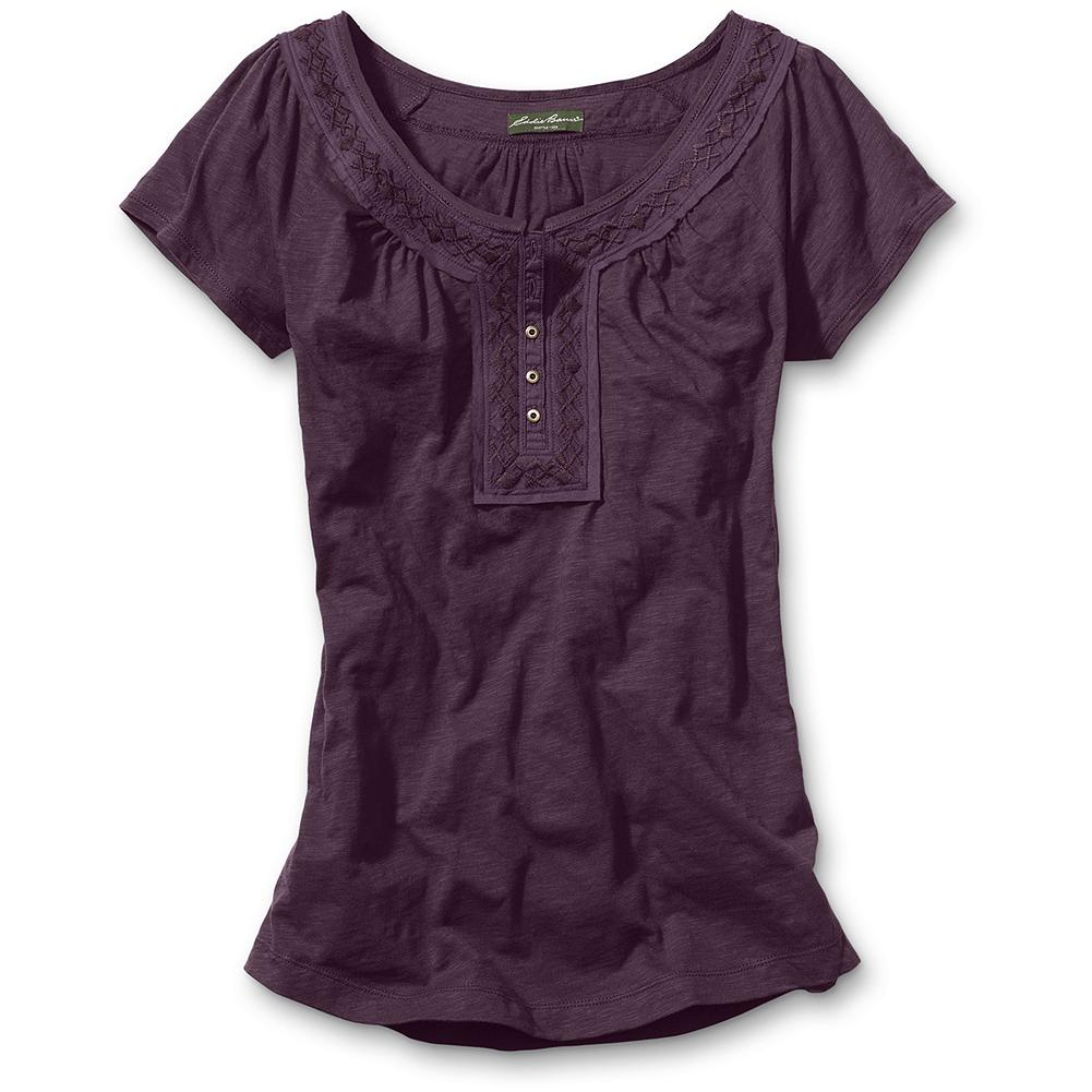 "Eddie Bauer Embroidered-Trim Henley T-Shirt - Spanish and Mexican geometrical patterns inspired the embroidered neckline, adding individual flair to a standard look. Soft shirring detail on front, back and shoulder. Classic fit. Length: Reg. 27"". Imported. - $14.99"