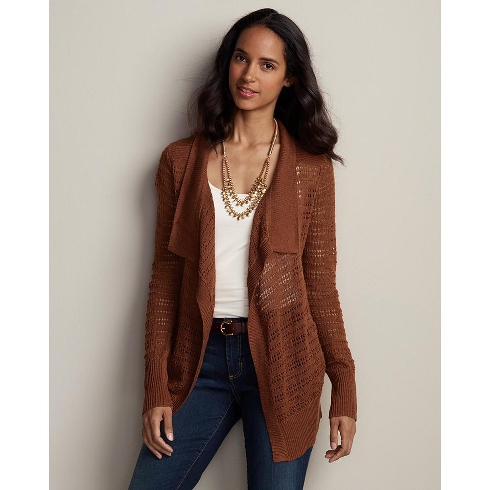 "Eddie Bauer Pointelle Open Drape Cardigan - A cardigan that's lightweight and lovely, with horizontal pointelle stitching, a flattering drape and cascading rib trim. Easy fit. Length: 26"". Imported. - $19.99"