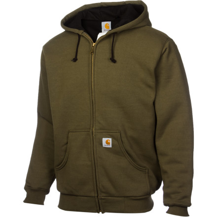 Wear the Carhartt Men's Thermal-Lined Hooded Full-Zip Sweatshirt when a regular old hoody just won't cut it. Lined with 7-ounce pile polyester fleece and bestowed with hand-warmer pockets, this relaxed-fit hoody steps up to the challenge of keeping you toasty on an extra-blustery work day. This high-quality sweatshirt resists shrinking and pilling, and an embroidered Carhartt logo shows your boss that you're high-quality, too. - $79.95