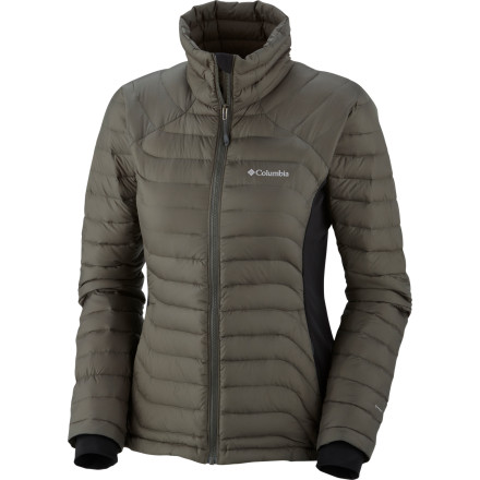 The Columbia Women's Powerfly Hybrid Down Jacket uses heat-holding down insulation to keep where you need it while flexible, breathable panels help your body regulate its temperature. This jacket is great for frigid morning ascents or under a shell when storms are in store. - $139.96
