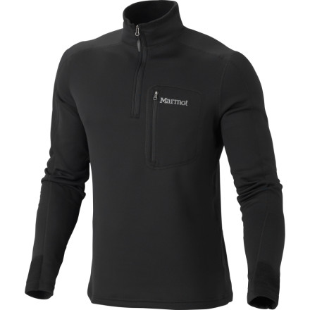 The low bulk and high performance of the Marmot Men's Power Stretch Half-Zip Fleece Jacket are powered by extremely breathable and mobile Polartec Power Stretch fleece. Ideal for pursuing isolated panoramas that require some aerobic exertion to behold, this fleece fights off wind chills without suffocating you in the process. Zip up the collar when you need to trap heat and let it hang open when ventilation is number one on your list. Flat-lock seams hold this fleece jacket together so you don't have to suffer the chafing of bulky construction lines. - $49.98