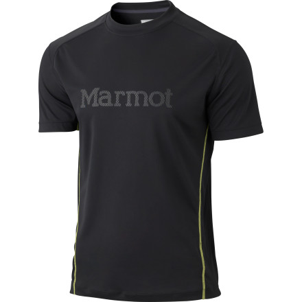 Fitness Dress right for your warm-weather workouts and pull on the Marmot Windridge Graphic Short-Sleeve Shirt. Whether you're running a six-mile loop on single-track trails or getting in an early-morning circuit training workout, this lightweight top's mesh panels help provide cooling ventilation, while the jersey knit fabric wicks moisture and dries quickly for maximum comfort. - $34.95