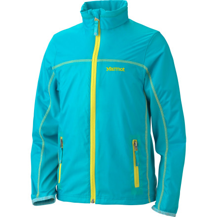 Windproof and water-resistant nylon ripstop on the front and sleeves of the Marmot Girls' Fusion Jacket keeps the elements from getting to you on a blustery spring day. On the back, though, you get a stretchy blend that keeps you from overheating and lets you move freely. The bold, bright color you love, however, is everywhere. - $24.98