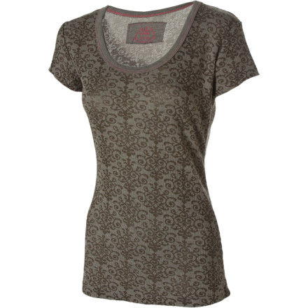 With the prAna Women's Ally Top in your corner, you're never at a loss for something to wear. This sweet ribbed scoop-neck tee with an all-over burnout pattern on the body and sleeves is comfortable, flattering, and ready to go with just about anything you pair it with, from cutoffs to skirts. - $49.95