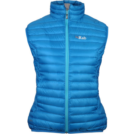 The super-lightweight Rab Women's Microlight Down Vest packs down nice and small, so you can always open up a can (so to speak) of extra warmth when you need it. The 750-fill European goose down vest in this ultralight vest warms your core without taking up a lot of space; its lightweight but tough Pertex Microlight shell blocks wind and keeps down from escaping. Lycra-bound hem and armholes finish off this tiny but mighty insulator. - $149.95