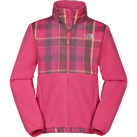 Ski Help your girl get her cozy on with The North Face Girl's Novelty Denali Fleece Jacket. Cold-busting fleece made from recycled materials keeps out the chill, and a high-tech DWR coating will keep her dry when fresh powder falls. If the weather gets crazy, or she would rather ski through the storm than hide out in the lodge, she can layer this fleece under a shell to create an ultimate winter-beating system. - $118.95