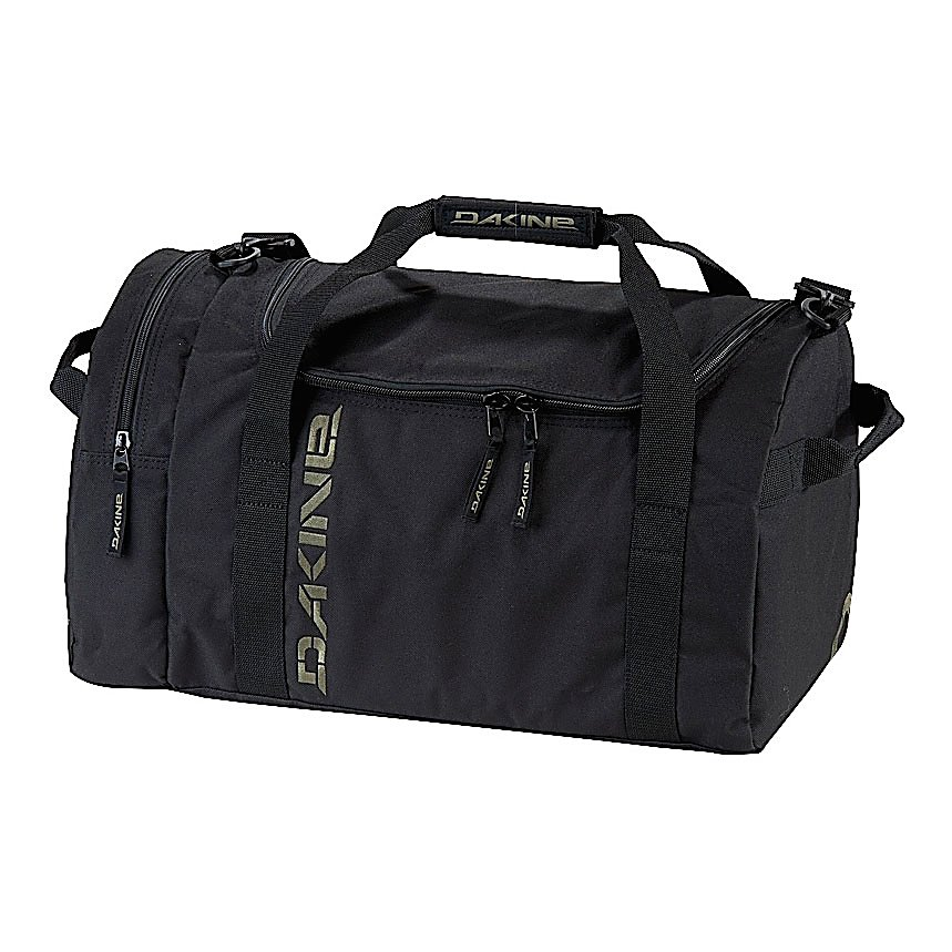 Ski Dakine EQ Medium Duffel Bag Duffle Bag - The Dakine EQ Medium Duffel Bag is an excellent choice for an overnight or extended weekend trip. The EQ features a U-shaped opening that allows you to easily get to your items and a zippered side pocket allows for extra storage space for some little loose items that you may have. The padded shoulder strap makes it easy and comfortable to transport the EQ Duffel Bag. Made with 600D Polyester this EQ Duffel Bag will last you many years. . Model Year: 2012, Product ID: 245277 - $39.95
