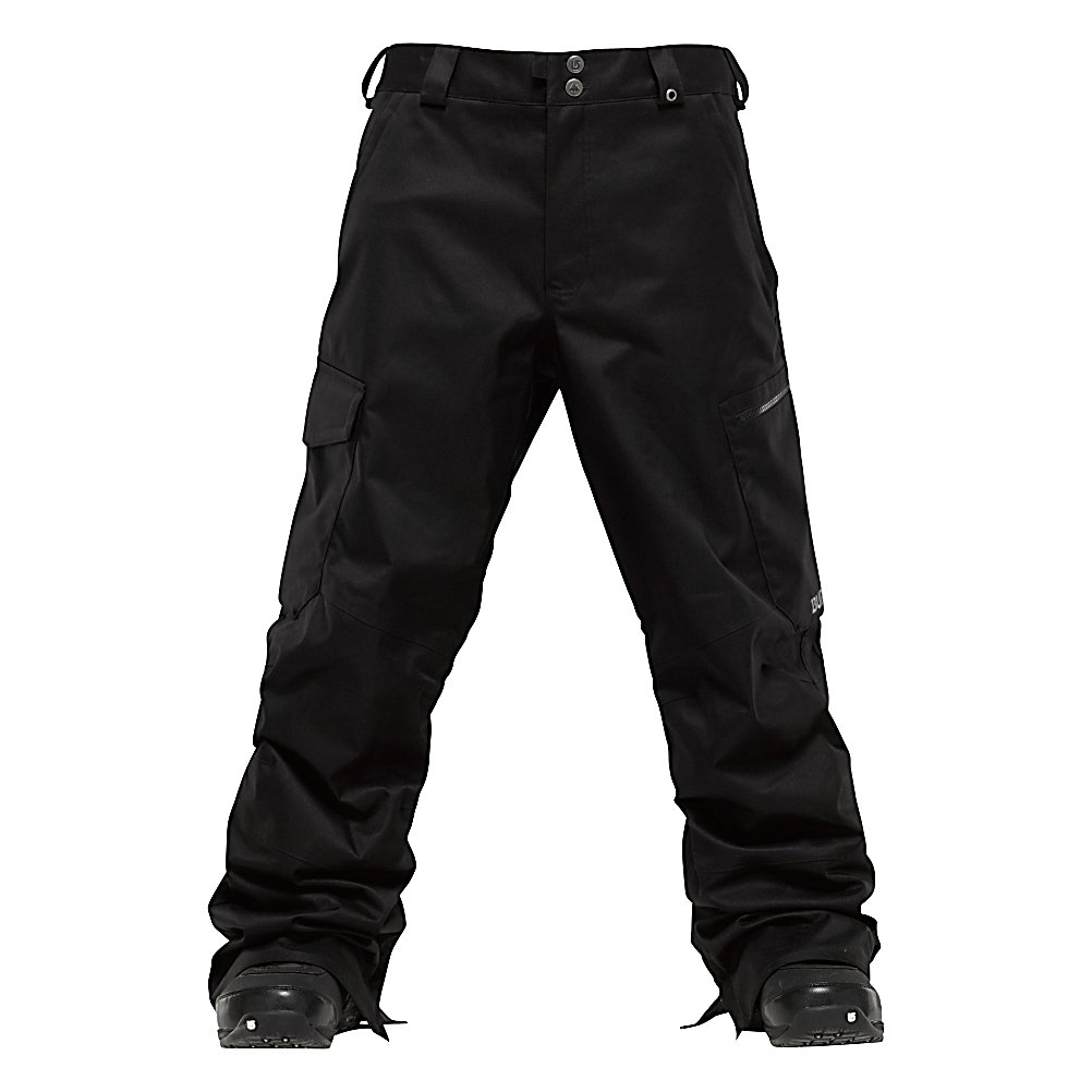 Snowboard Burton Cargo Mens Snowboard Pants - The Burton Cargo Snowboard Pants is roomy without being overly baggy and was designed with enough waterproof/breathability to keep those wintry conditions from seeping inside. Designed with DryRide 2L, you'll have a micro-porous coating applied directly to the backside of the DWR-Finished outer fabric providing waterproof/breathable performance. It's your classic cargo pant design sure to please and as far as your performance out there on the mountain, well, it will surely be at its peak when the winds kick up, the snow falls and the temps drop. Next time you shred the mountain or kick in the park, make it look like it's just like any other day when you don the Burton Cargo Snowboard Pants. . Exterior Material: Printed Brushed Plain Weave Fabric, Softshell: No, Insulation Weight: N/A, Taped Seams: Fully Taped, Waterproof Rating: 10,000mm, Breathability Rating: 10,000g, Thigh Zip Venting: Yes, Suspenders: None, Articulated Knee: No, Cargo Pockets: Yes, Warranty: Lifetime, Race: No, Waterproof: Moderately Waterproof (5000mm-19,999mm), Breathability: High Breathability (9000g-15,000g), Use: Snowboard, Type: Shell, Cut: Regular, Lining Material: Mesh Lining, Waist: Beltloops, Pockets: 5-6, Model Year: 2012, Product ID: 241331, Shipping Restriction: This item is not available for shipment outside of the United States. - $89.98