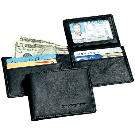 Entertainment Throw your papers and plastic in the DAKINE Agent Leather Wallet. This DAKINE tri-fold wallet holds your layers of papers and yards of cards, so you're prepared for any secret-agent mission you get sent on. - $25.00