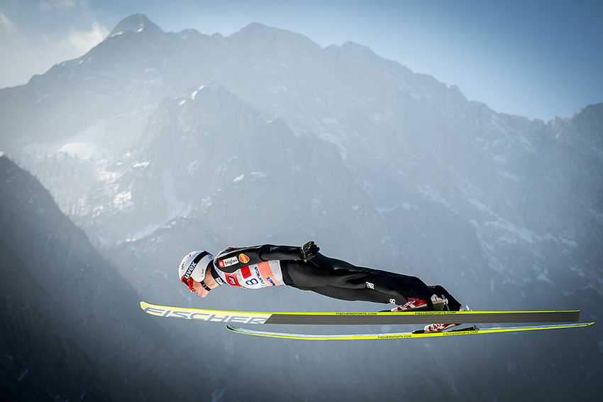 Ski Jurij Tepes soars through air during FIS Ski Flying World Cup