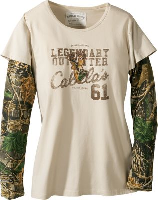 Comfortable, long-sleeve graphic tee fits perfectly into the lifestyle of today's outdoor woman. Comfortable tees blend 60/40 cotton/polyester Seclusion 3D camo sleeves with a soft, 100% cotton jersey body. Screen-printed detail and Legendary Outfitter logo adorns the front. Double-needle hem. Imported.Sizes: S-2XL.Color: Cream, Olive. - $19.88
