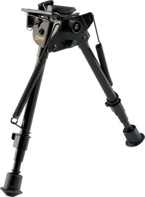 Steady your shots with a bipod that mounts to almost any gun with a front sling stud. The bipod base is padded to protect firearm finish. Built of sturdy, yet lightweight aluminum with soft, quiet rubber feet. When not in use, legs fold forward, parallel to the barrel. Touch a button, and they spring out to shooting position. The telescoping legs adjust in length and are notched for easy indexing to a specific height. The bipods lower portion pivots independently from the upper stock mount for use on uneven terrain. A tension knob adjusts resistance of the pivot motion. Connect the sling under the bipod base. Three versions available for shooting positions from prone to sitting or kneeling. Available: 6 to 9, 12 oz. 9 to 13, 13 oz. 13 to 23, 16 oz. 13-1/2 to 27, 19 oz. Type: Bipods. - $37.49