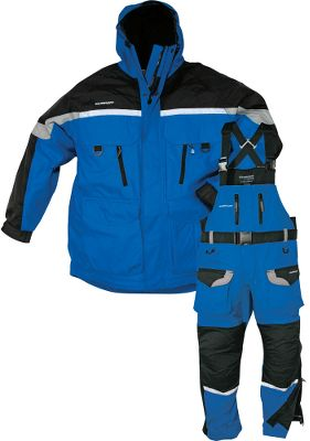 Fishing Anglers in northern climates know that when the lakes freeze over, fishing doesn't end. Ice-fishing requires special gear, and that's where this suit comes in. The Clam Ice Armor Suit is a specialized parka and bibs made for ice anglers. The shell is made of waterproof, windproof Tactel nylon oxford. They feature a warm polyester tricot lining with lined handwarmer pockets. There is a Sherpa fleece patch for holding lures, and D-rings below the front pockets for hanging flashlights or gloves. The bibs have padded knees and seat for comfort. Sold as a two-piece set only. Imported.Sizes: S-4XL.Color: Blue/Black. - $202.88