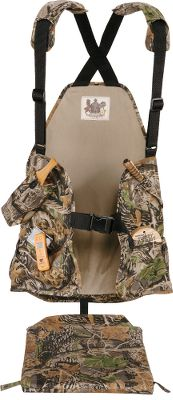 Hunting Best-valued vest to hold the basic essentials. Box-call pouch on right chest and two pocket slots on left chest are perfect for holding strikers. Two lower pockets; right pocket zips shut. Attached, padded seat cushion folds back and snaps into place and out of the way when on the move. Roomy mesh game bag on the back. Adjustable suspenders with padded shoulders for comfort. Polyester/cotton. One size fits most. Imported.Camo pattern: Seclusion 3D. - $29.99