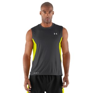 Fitness This is the best running t-shirt for the sweltering heat. Most fabrics-especially dark colors-heat up and become unbearable in the blazing sun. Well, no more. Revolutionary coldblack(R) technology makes dark colors act more like light colors, and light colors act like nothing else. It even protects your skin from sun damage. Revolutionary coldblack(R) technology reflects IR and heat rays, so even dark color don't get as hotMinimum UPF 30+ sun protection to block out UV-A and UV-B raysUltra-light, smooth HeatGear(R) fabric delivers performance without the weightUnderarm mesh panels provide strategic ventilationSignature Moisture Transport System wicks sweat away from the bodyAnti-odor technology prevents the growth of odor causing microbesSmooth flatlock seams allow a full range of motion without chafingGraphics and logos provide 360deg reflectivity for safer low-light runs Embossed pattern on some colors3.8 oz. PolyesterImported - $29.99