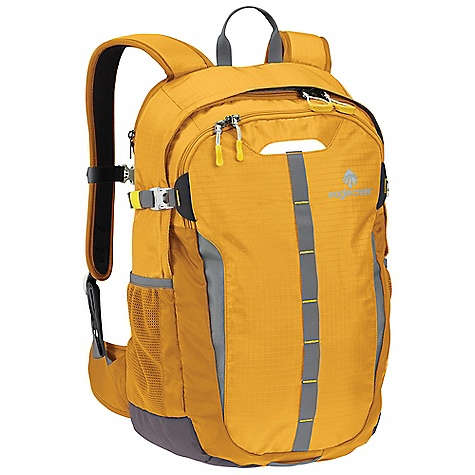 Camp and Hike Free Shipping. Eagle Creek Mountain Valley Backpack DECENT FEATURES of the Eagle Creek Mountain Valley Backpack Smart Travel Security organization includes: interior mobile phone and electronics pockets, zippered mesh pocket and pen slots Lockable, self-repairing zippers on main and organizer compartments with finger-friendly zippers pulls on main Padded zippered laptop compartment sized to fit most 15in. laptops with hidden travel document slip pockets Ergonomically contoured shoulder straps Adjustable sternum strap and tuck-away hip belt Exterior compression straps Padded breathable mesh back panel for a comfortable carry Interior document slip pocket Exterior compression straps and two side mesh pockets Top grab handle Bike light attachment loop and daisy chain Reflective accents for dusk and nighttime visibility The SPECS Capacity: 1950 cubic inches / 32 liter Weight: 1 lb 9 oz / 0.7 kg Dimension: 12.5 x 20.5 x 8.5in. / 32 x 52 x 20 cm 420D Helix Ripstop 420D Helix Oxford 1000D Helix Ballistic - $99.95