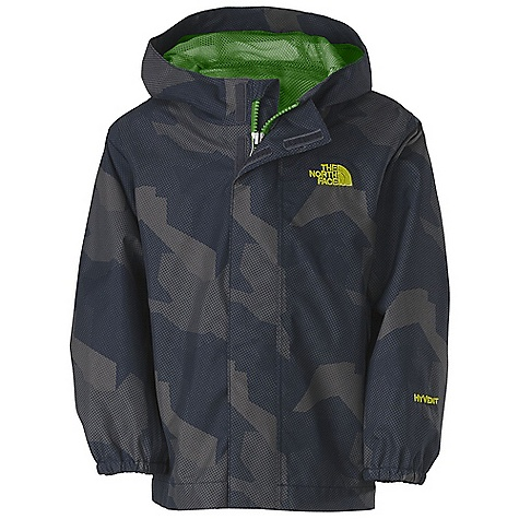 Free Shipping. The North Face Toddler Boys' Printed Tailout Jacket DECENT FEATURES of The North Face Toddler Boys' Printed Tailout Jacket Waterproof, breathable, fully seam sealed Mesh-lined body Brushed collar lining Fixed hood Center front zip and Velcro closure Elasticized cuffs Chin guard flap ID label Embroidered logo at left chest Imported The SPECS Average Weight: 5.71 oz / 162 g Center Back Length: 16.25in. Body: 75D 110 g/m2 HyVent 2L-100% polyester plain weave Lining: 50D 50 g/m2 100% polyester small-hole mesh This product can only be shipped within the United States. Please don't hate us. - $59.95