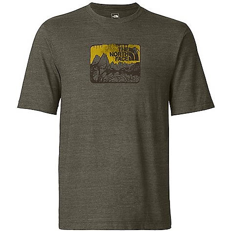 The North Face Men's S-S Meru View Tee DECENT FEATURES of The North Face Men's Short Sleeve Meru View Tee Comfortable, lightweight, easy-care fabric Screen-printed graphic at chest 1x1 rib at collar The SPECS Average Weight: 7.2 oz / 204 g Center Back Length: 28.5in. 190 g/m2 50% polyester, 37% cotton, 13% modal tri-blend heather jersey This product can only be shipped within the United States. Please don't hate us. - $29.95