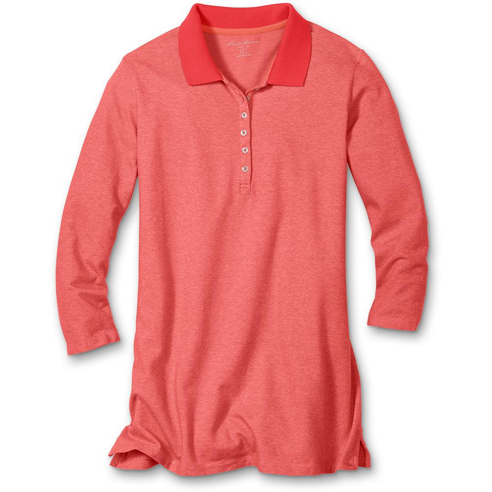 Hunting Eddie Bauer 3/4-Sleeve Bird's-Eye Pique Polo Shirt - Our popular pique polo, updated with a subtle bird's-eye stitch and vivid seasonal shades. Specially polished for softness. Color stays true, wash after wash. Classic fit. Imported. - $9.99