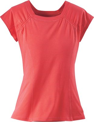 Quick-drying fabric keeps you cool under the sun. The squared neckline and raglan seams add feminine flair, making this shirt stand out from the rest. A moisture-wicking back patch eliminates perspiration between your shoulder blades. Side panels increase comfort and mobility. UPF rating of 40. 100% cotton. Imported. Center back length for size Medium: 23. Sizes: S-2XL. Colors: Avocado, Sky, Orchid, Papaya. Size: Large. Color: Sky. Gender: Female. Age Group: Adult. Material: Cotton. Type: Short-Sleeve Tee Shirts. - $19.88